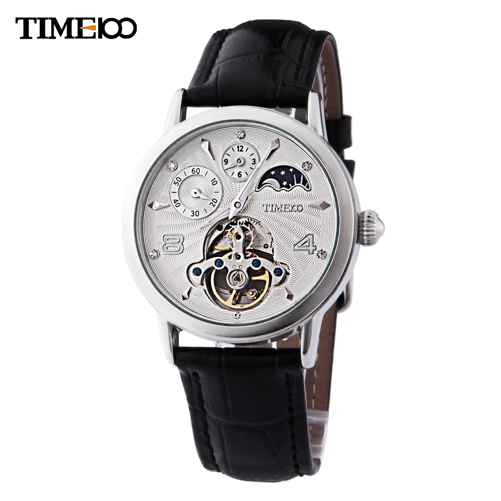 TIME100 Men's Automatic Self Wind Mechanical Watch Sun Phase Skeleton Tourbillon Style Black Leather Strap Watches For Men 2016 time100 cool vintage men watch mechanical automatic self wind military waterproof black leather wrist watch for men clock