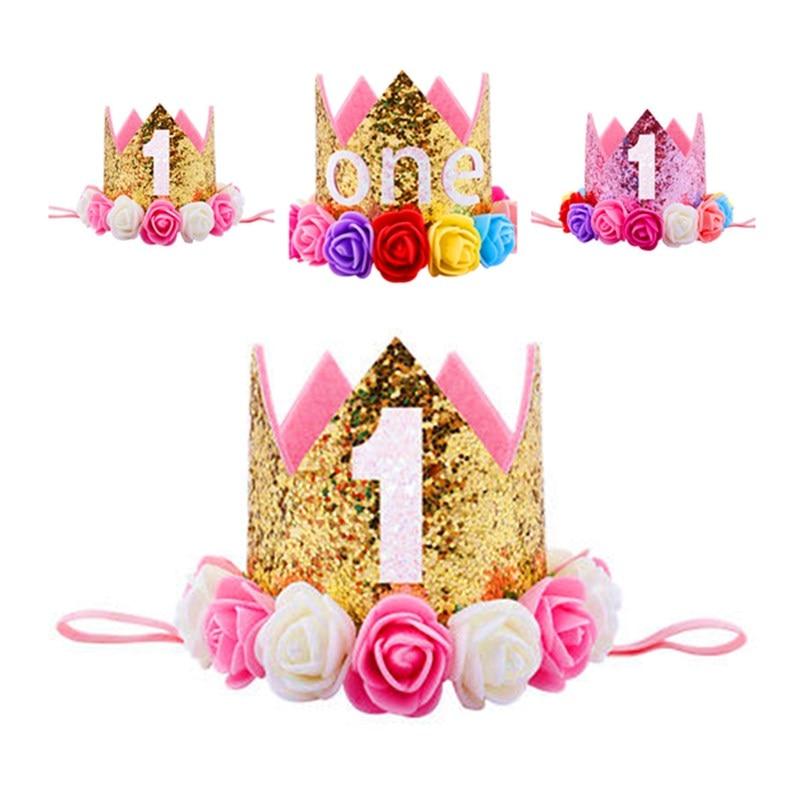 Cute Baby Infant Rainbow Rose Flower Crown Princess Hat Birthday Party Headband