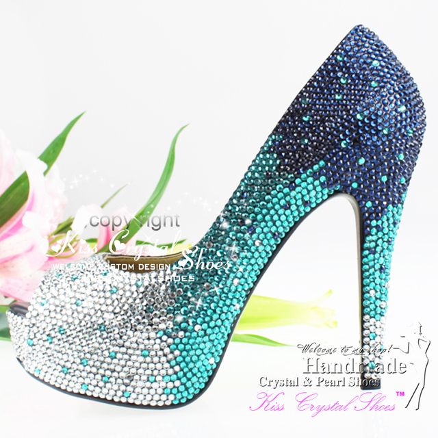 3338baf27ab turquoise wedding shoes PEEP TOE sparkly Mixed CRYSTAL HIGH HEEL PUMPS  PLATFORM Teal Wedding shoes Dance shoes