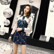 Delocah New Women Summer Suits Runway Fashion Lace Splice Ruffled Tops Blouse And Vintage Printed Short Skirt Two Pieces Set
