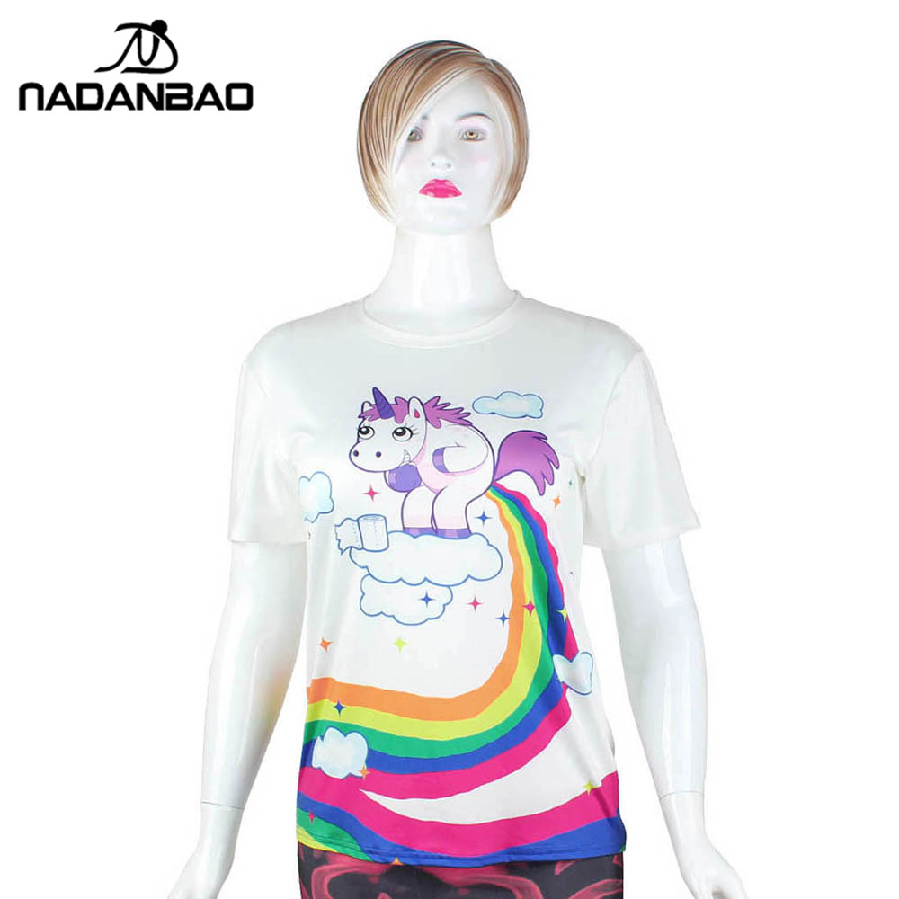 f70c2739 NADANBAO Summer T Shirt Women Unicorn Cloud 3D Printing Rainbow Tshirt  Hiphop Kawaii T Shirt -in T-Shirts from Women's Clothing on Aliexpress.com  | Alibaba ...