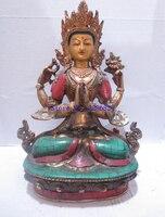 Коллекция редких Тибетский позолоченной Имитация бирюзы медь Тибет статуя Будды/скульптура высокой: 9.4 дюймов Бесплатная доставка