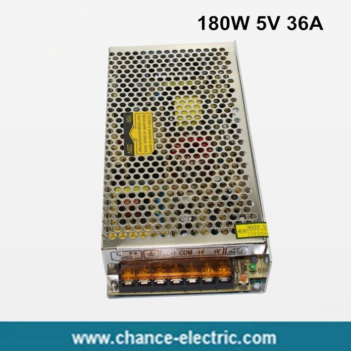 180W 5V 36A Single Output Switching power supply for LED Strip light AC to DC  (S-180W-5v) 1200w 48v adjustable 220v input single output switching power supply for led strip light ac to dc