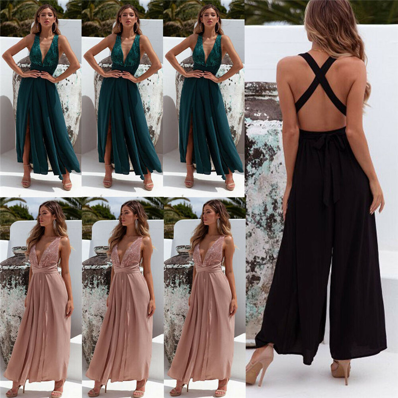 Women Clubwear Summer   Jumpsuit   Sleeveless Sequined Fashion   Jumpsuits