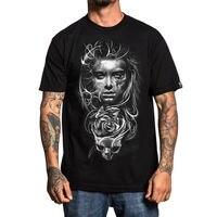 Sullen Men's Asencio Black Tattooed Skull Tee Clothing Apparel Quality T Shirts Printing Short Sleeve O Neck