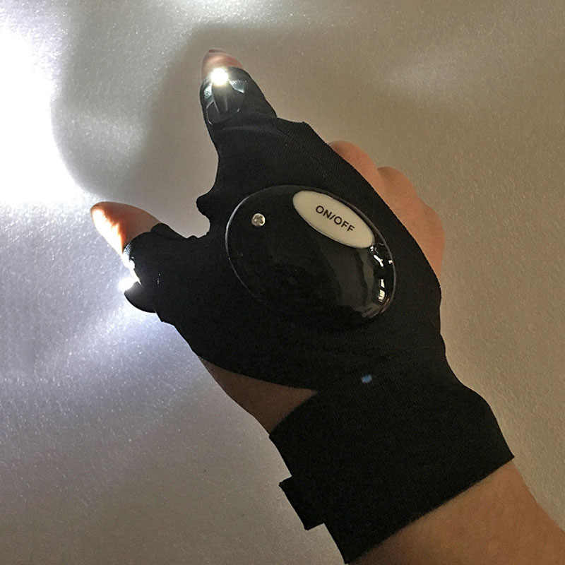 Outdoor Sports LED Glove Night Sight View Fishing Running Fixing Spotlight Repair Lamp Flashlight Torch Cover Lite Fingerless