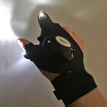Outdoor Sports LED Glove Night Sight View Fishing Running Fixing Spotlight Repair Lamp Flashlight Torch Cover Lite Fingerless