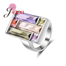 JEXXI Unique Design Charm Mixed Cubic Zircon Crystal Fashion Luxury Rings For Women Engagement Jewelry 925 Sterling Silver