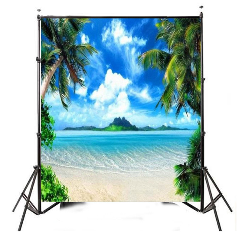 8x8FT Vinyl Blue Sky Tree Sea Island Custom Photography Background For Studio Photo Props Photographic Backdrops 2.4x2.4m new promotion newborn photographic background christmas vinyl photography backdrops 200cm 300cm photo studio props for baby l823