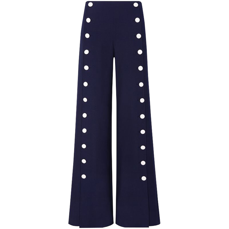 HIGH QUALITY Newest Fashion 2018 Runway Designer   Pants   Women's Buttons Embellished   Wide     Leg     Pants