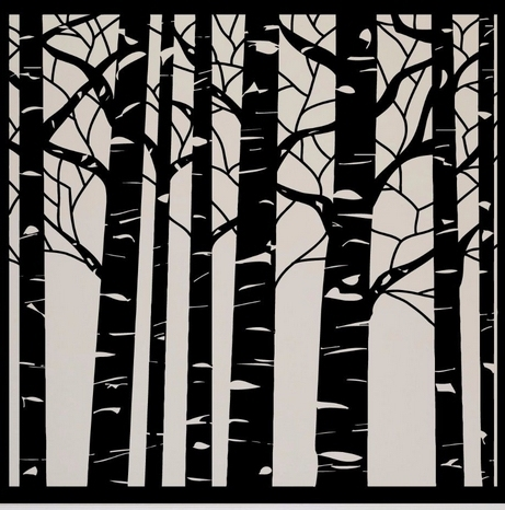 Tree Vinyl Wall Decal Birch Tree Wood Forest Large Mural Art Wall ...