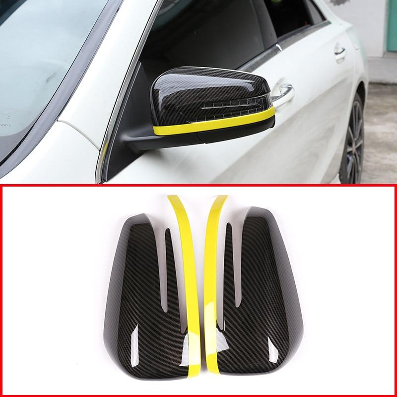ABS Carbon Fiber Rearview Mirror Cover Trim For Mercedes A Class CLA GLA 2013-18