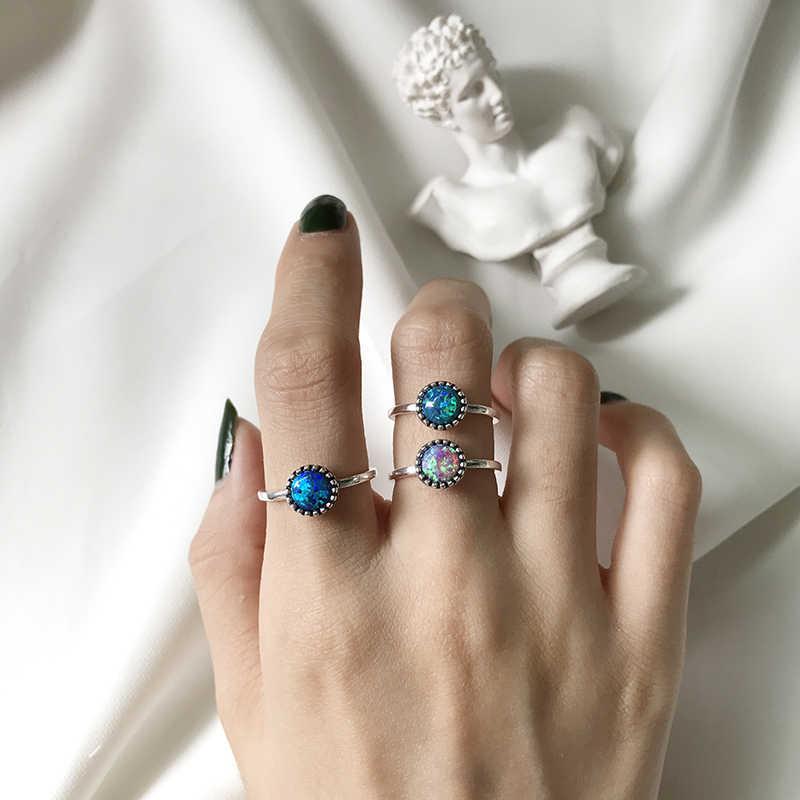 Peri'sBox VINTAGE 925 เงินสเตอร์ลิงหินโอปอลแหวน Dainty แหวนสำหรับสตรี 2 สีของแข็งธรรมชาติหมั้นแหวน