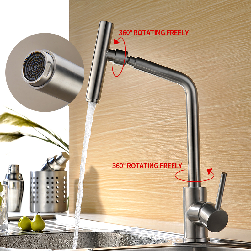 Hot Kitchen Faucet Single Handle 360 Degree Swivel Spout 304 Stainless Steel Bathroom Basin Faucet Hot Cold Water Mixer WaterHot Kitchen Faucet Single Handle 360 Degree Swivel Spout 304 Stainless Steel Bathroom Basin Faucet Hot Cold Water Mixer Water