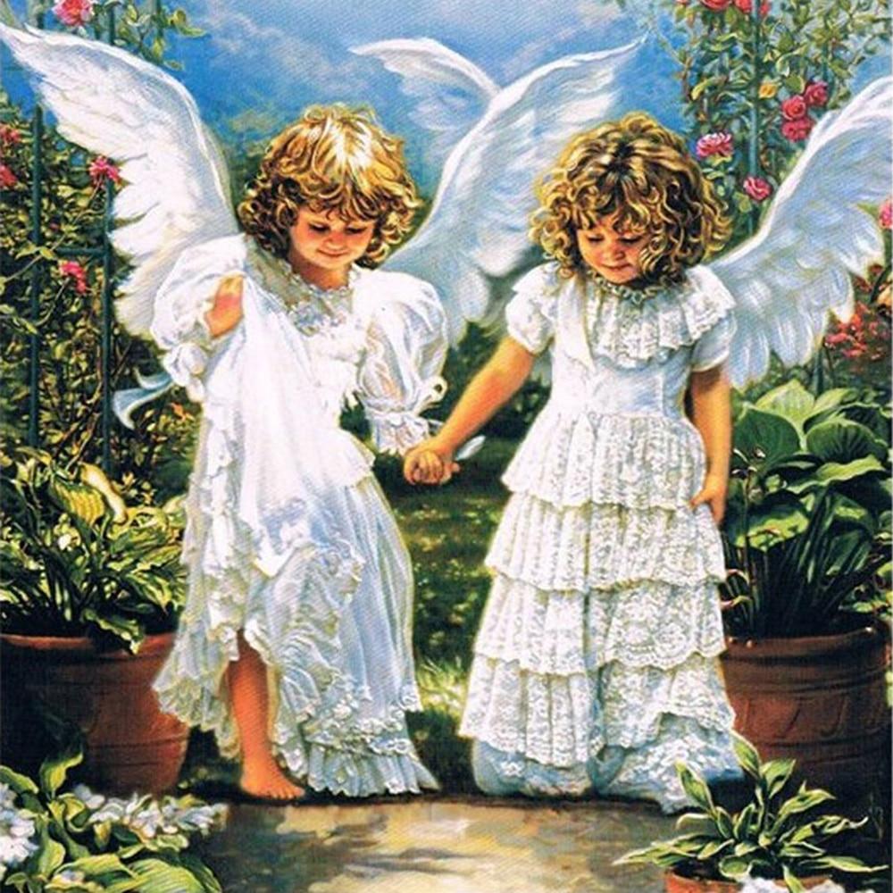 Черным, картинка ангелочков мальчик и девочка