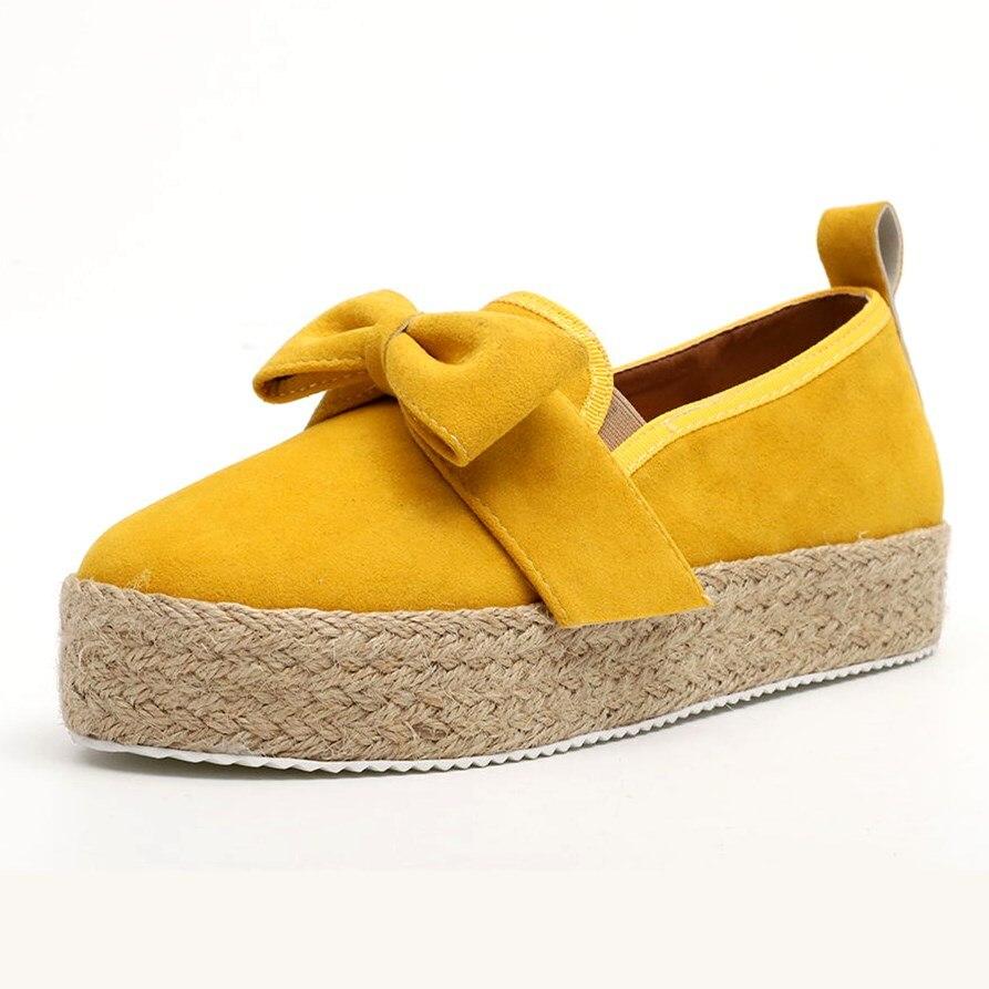 EOEODOIT Women Autumn Flat Heel Canvas Shoes Round Toe Big Bowknot Slip On Plus Size Loafers Female Espadrille Ballet Shoes