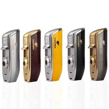 COHIBA Metal Cigar Torch Lighter Windproof Pocket Jet Cigarette Lighters Refillable Butane Gas Puro Lighter W Punch Gift Box