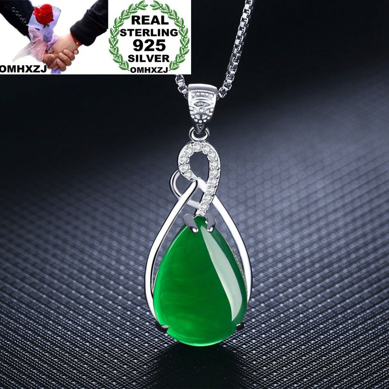 OMHXZJ Wholesale European Fashion Woman Girl Party Gift Water Drop Agate Zircon 925 Sterling Silver Necklace Pendant Charm CA43