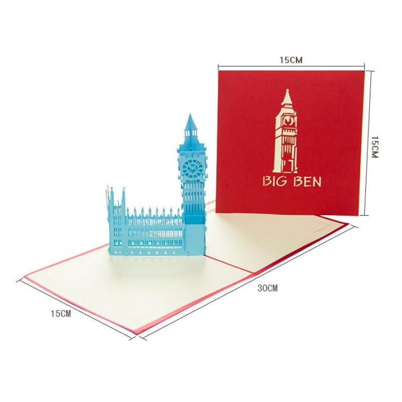 1Pc Colorful Big Ben Building Post Card 3D Pop Up Greeting Cards Laser Printing Card Festival Postcards Birthday Gift Card K2 postcard christmas gift post card postcards chinese famous cities beautiful landscape greeting cards ansichtkaarten ningbo