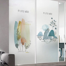 Color balloon Glass window Film Door Sticker Privacy Custom size Landscape painting kitchen Sliding door for New Year decoration