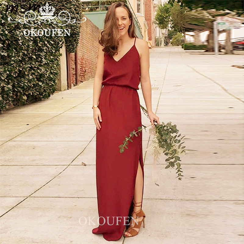 Beach Bohemia Long   Bridesmaid     Dresses   For Women 2019 Red Chiffon Side Split Wholesale Price Maid Honor   Dress   Party Gown