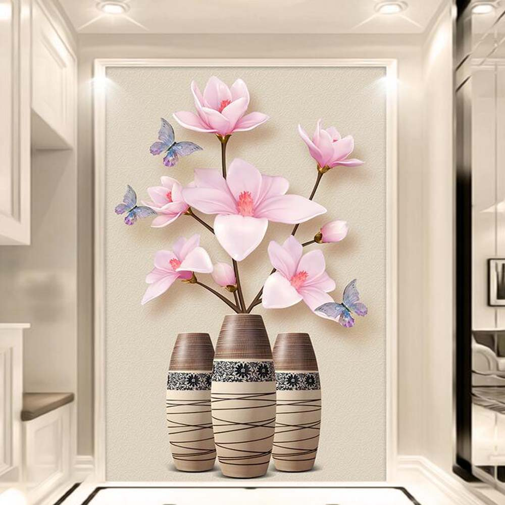 3d embossed magnolia denudata flower hallway wall murals photo 3d embossed magnolia denudata flower hallway wall murals photo wallpaper for living room bedroom entrance floral wallcoverings in wallpapers from home amipublicfo Gallery