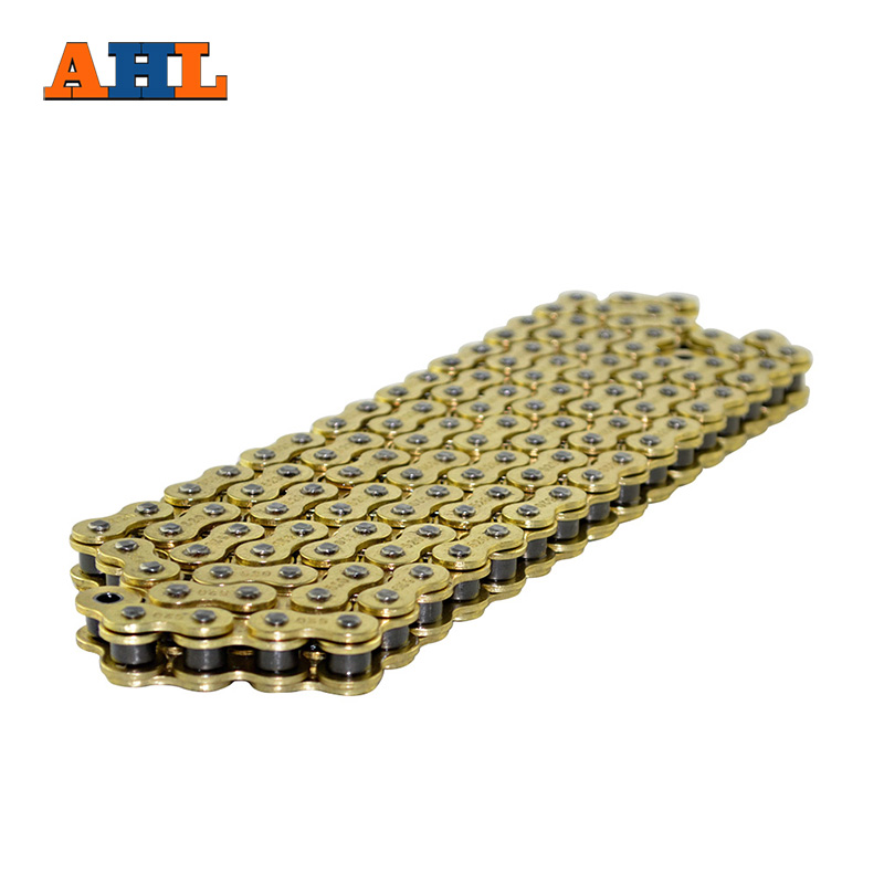 AHL Motorcycle Drive Chain 520 Pitch Heavy Duty Gold Non O-Ring Chain For KTM 150 SX 2008-2011 450 SMR 2004-2007 530 120 brand new unibear motorcycle drive chain 530 gold o ring chain 120 links for cagiva ala azzurra 650 drive belts
