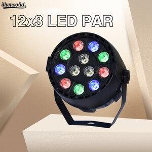 LED الاسمية 12x3w RGBW مع DMX512 ل شعاع ضوء لنادي الديسكو DJ الصوت المنشط ديسكو الكرة المرحلة ضوء لوميير جهاز عرض الكريسماس dj نادي الاسمية