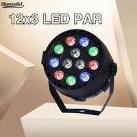 LED Par 12x3w RGBW con DMX512 para discoteca DJ sonido activado Bola de discoteca Luz de escenario Lumiere proyector de Navidad Dj Club Par