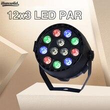 Lumière de scène avec boule Disco activée Par le son DMX512 12x3w RGBW, lumière de scène, projecteur de noël, pour Club DJ Dj Par LED