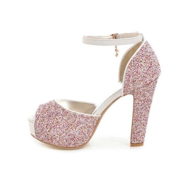 102c52437 placeholder ESVEVA 2018 Women Sandals Sequins PU Bling Square High Heels  Summer Buckle Strap Peep Toe Platform