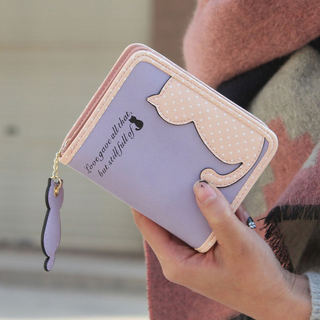Xiniu женский кошелек с застежкой-молнией Cat Pattern Кошелек женский Женщины Кожа Короткие Бумажник carteira feminino monedero mujer # YHEW