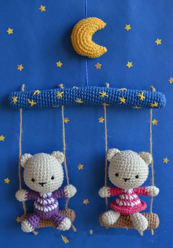 Crochet Bears Baby Toy Doll Rattles