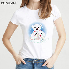 New design Bear Cartoon T shirt women harajuku kawaii tshirt femme Cute Short Sleeve Casual vogue T Shirt female streetwear(China)