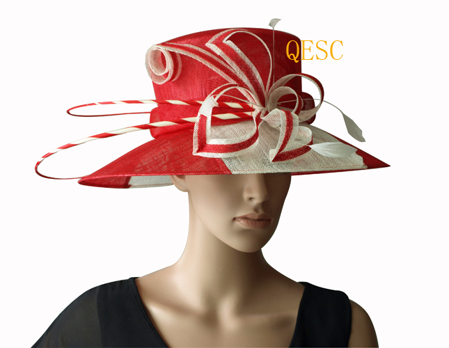 Us 550 New Ivoryred Two Tone Wide Brim Dress Sinamay Hats Church Hatsfor Raceswedding And Church In Womens Fedoras From Apparel Accessories On
