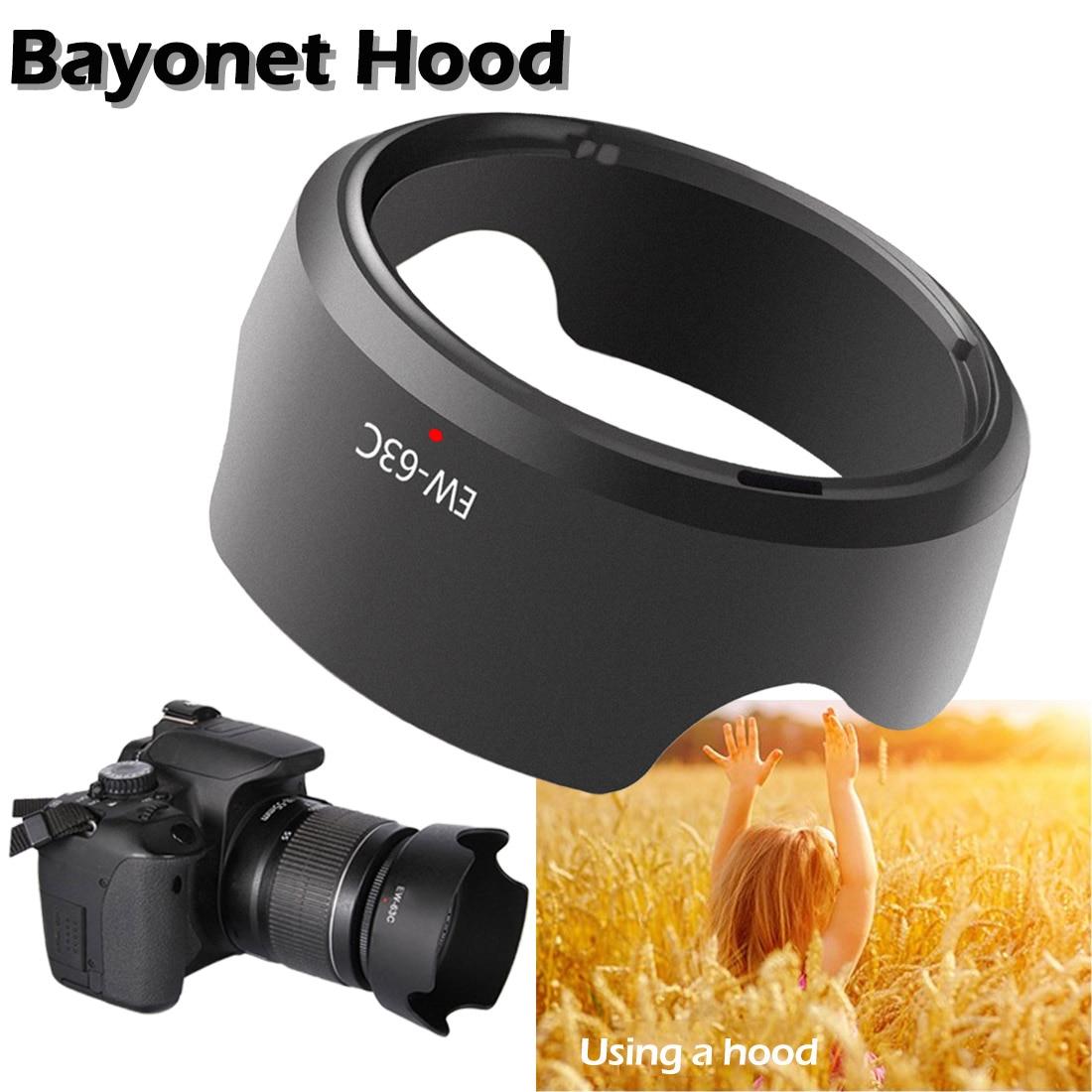 Universal EW-63C Camera Lens Hood For Canon EF-S 18-55mm F/3.5-5.6 IS 58mm Screw-in Tulip Flower Filter Thread Camera Lens Hood
