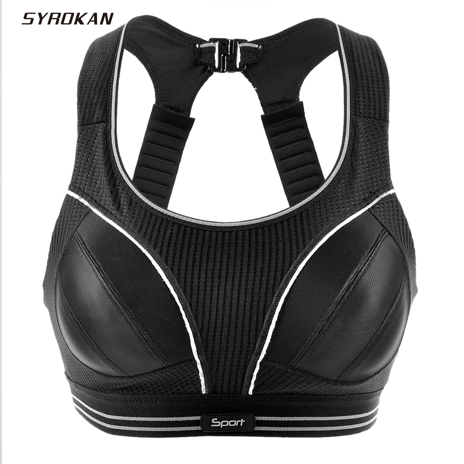 SYROKAN Women's Compression Racerback Adjustable High Impact Running Sports Bra Size