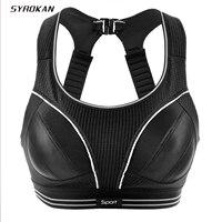 SYROKAN vrouwen Compressie Racerback Verstelbare Hoge Impact Running Sportbeha (kleiner dan normaal)