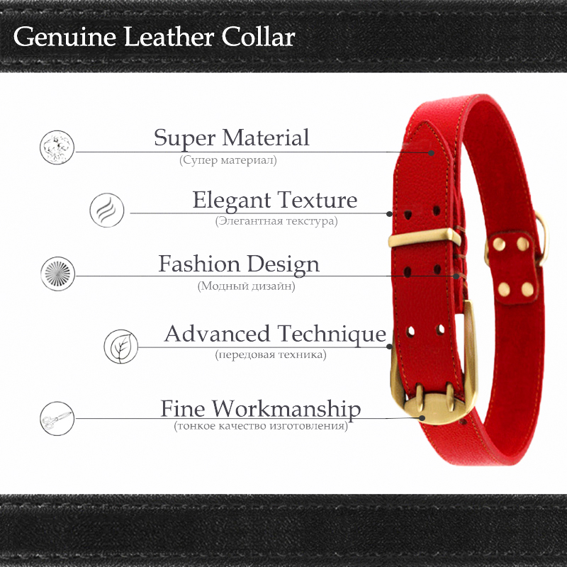 Black Red Big Dog Collar Genuine Leather Material Glossy Elegant Necklace For Large Dogs Collars XL Labrador Golden Retriever