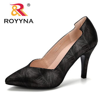 ROYYNA 2019 Spring Autumn New Style Women Pumps Pointed Toe High Heels Shoes Woman Flower Shoes Ladies Mujer Shoes Comfortable fedonas new arrival gray pink women low heels casual shoes comfortable four season pointed toe loafers shoes woman