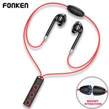 Fonken Bluetooth наушники в ухо Беспроводной наушники Спорт магнитный динамик с микрофоном Bluetooth наушники для мобильного телефона