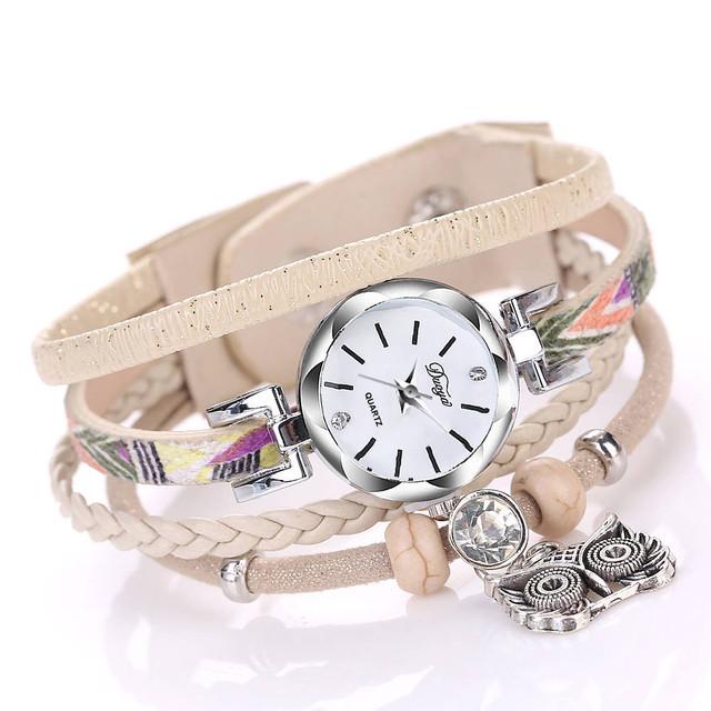 Aimecor Womens Fine Leather Band Winding Analog Quartz Movement Wrist Watch Relogio Feminino