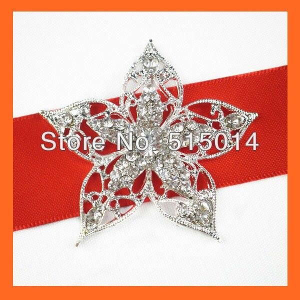 Free Shipping !(100pcs/lot )53mm Star Crystal Rhinestone Brooch Pins For Wedding Bridal