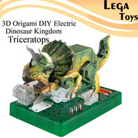 3D Origami DIY Electric Dinosaur Kingdom Triceratops Electric Circuit Paper Science Kits Puzzle Paper Science Model