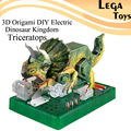3D Origami DIY Electric Dinosaur Kingdom Triceratops,Electric Circuit Paper Science Kits,Puzzle Paper Science Model kit baby Toy