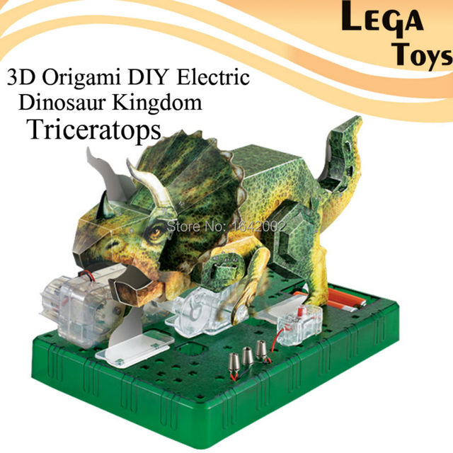 3D Origami DIY Electric Dinosaur Kingdom TriceratopsElectric Circuit Paper Science KitsPuzzle