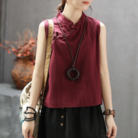 Womens Cotton Linen Tees Tank Tops T Shirt Sleeveless Chinese Style Retro Vintage Fashion for Summer Stand AZ39542030