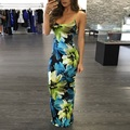 EIFFTER 2016 New Sexy Sleeveless Strap Floral Print Long Dress Hollow Out Backless Summer Dresses High Waist Maxi Dress Vestidos