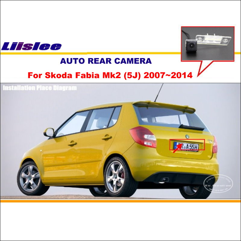 liislee reverse rearview camera for skoda fabia mk2 (5j) 2007~2014 / car  back up parking camera / license plate light camera