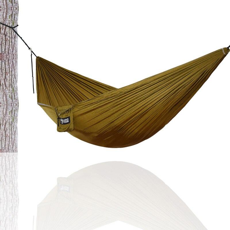 Randonnée Camping 270*140 cm Hamac Portable Nylon Sécurité Parachute Hamac Suspendu Chaise Swing En Plein Air À Double Personne Loisirs Hamak